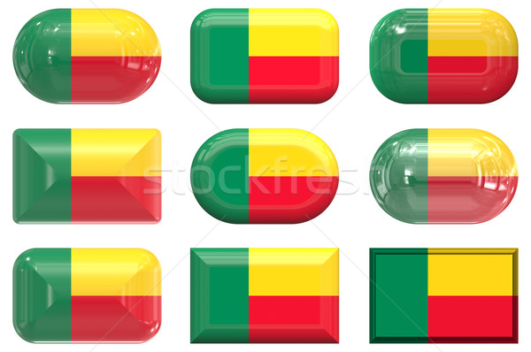 nine glass buttons of the Flag of Benin Stock photo © clearviewstock