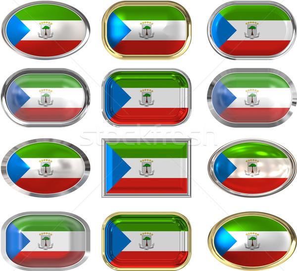 Tizenkettő gombok zászló Egyenlítői-Guinea Stock fotó © clearviewstock