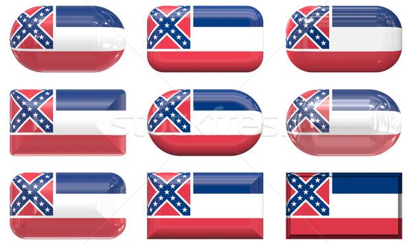 Dokuz cam düğmeler bayrak Mississipi Stok fotoğraf © clearviewstock