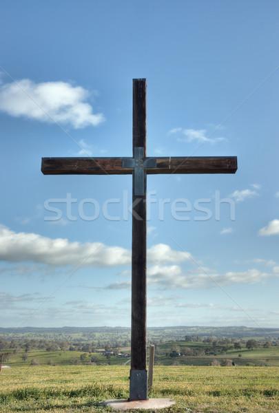 Hristiyan çapraz Mesih alan görüntü gökyüzü Stok fotoğraf © clearviewstock