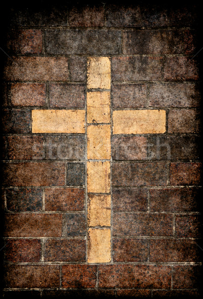 christian cross in brick wall Stock photo © clearviewstock