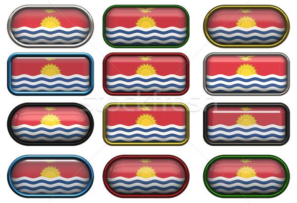 Doze botões bandeira Kiribati Foto stock © clearviewstock