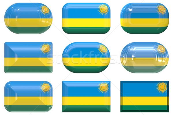 девять стекла Кнопки флаг Руанда Сток-фото © clearviewstock