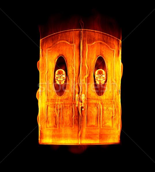 дверной проем ад изображение двери пламя Сток-фото © clearviewstock