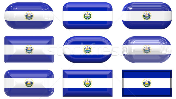 nine glass buttons of the Flag of El Salvador Stock photo © clearviewstock