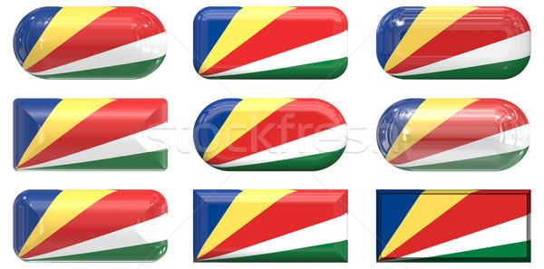Kilenc üveg gombok zászló Seychelle-szigetek Stock fotó © clearviewstock