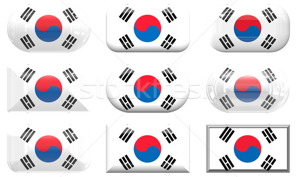 nine glass buttons of the Flag of South Korea Stock photo © clearviewstock