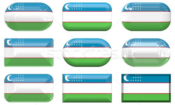 Kilenc üveg gombok zászló Üzbegisztán Stock fotó © clearviewstock