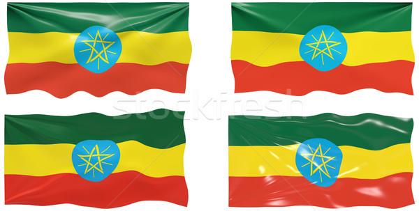 Vlag Ethiopië groot afbeelding Stockfoto © clearviewstock