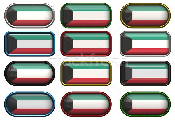 Dodici pulsanti bandiera Kuwait Foto d'archivio © clearviewstock