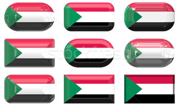 Negen glas knoppen vlag Soedan Stockfoto © clearviewstock