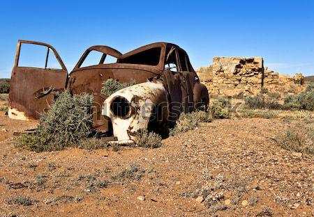 Stary samochód pustyni starych zardzewiałe samochodu Zdjęcia stock © clearviewstock