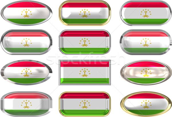двенадцать Кнопки флаг Таджикистан Сток-фото © clearviewstock