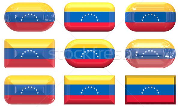 Nove vidro botões bandeira Venezuela Foto stock © clearviewstock