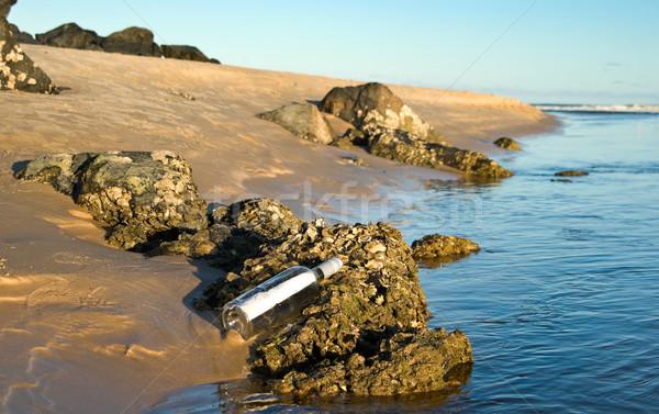 Mensagem garrafa praia mar oceano areia Foto stock © clearviewstock