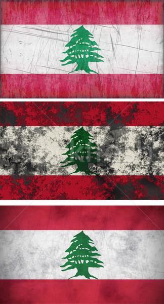 Zászló Libanon nagyszerű kép háttér koszos Stock fotó © clearviewstock