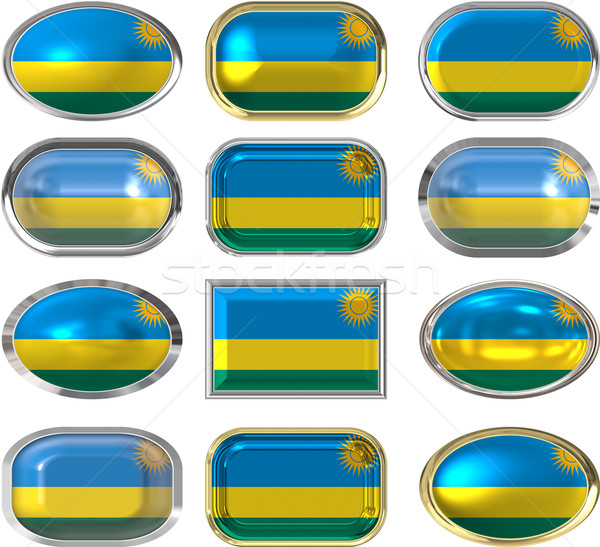 twelve buttons of the Flag of Rwanda Stock photo © clearviewstock