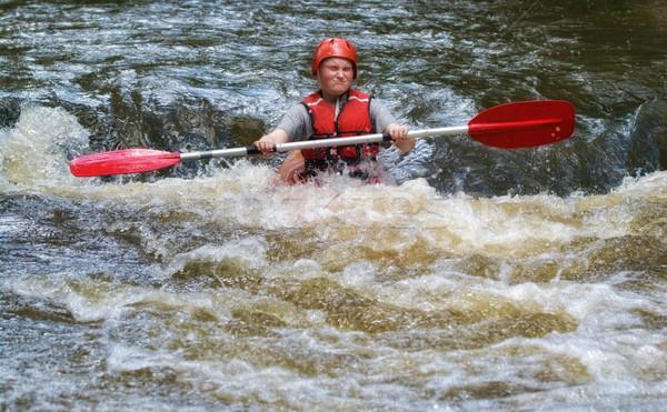 teenager white water kayaking Stock photo © clearviewstock