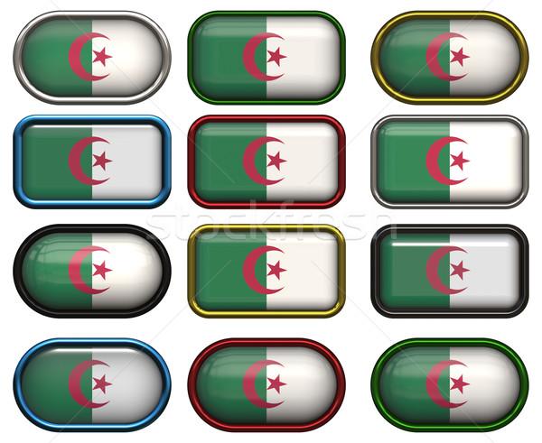 Foto stock: Doze · botões · bandeira · Argélia
