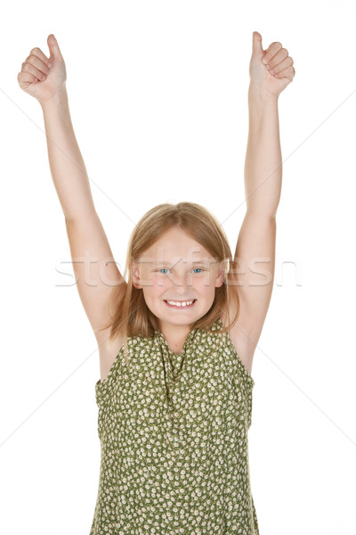 young girl happy arms raised Stock photo © clearviewstock