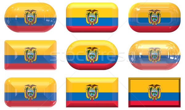 Dokuz cam düğmeler bayrak Ekvador Stok fotoğraf © clearviewstock