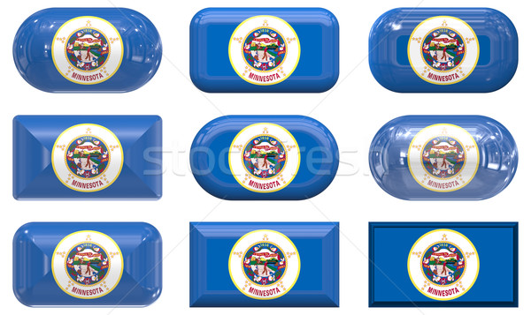 Nove vidro botões bandeira Minnesota Foto stock © clearviewstock