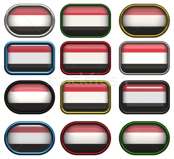 Twaalf knoppen vlag Jemen Stockfoto © clearviewstock