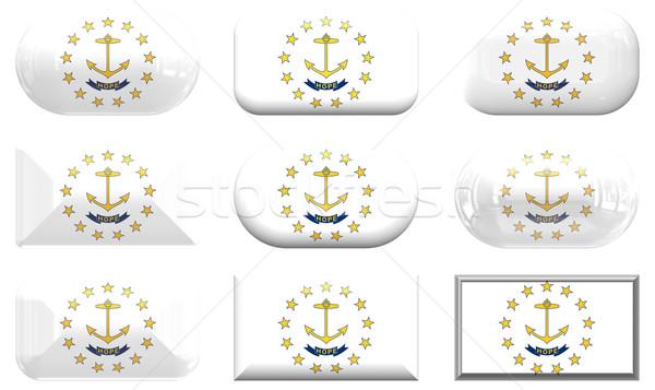 Nove vidro botões bandeira Rhode Island Foto stock © clearviewstock