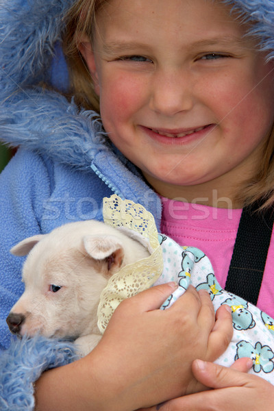 girl holding pup Stock photo © clearviewstock