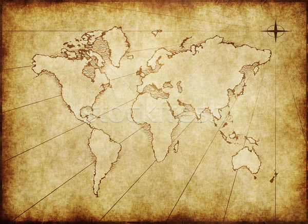 old grungy world map on paper Stock photo © clearviewstock