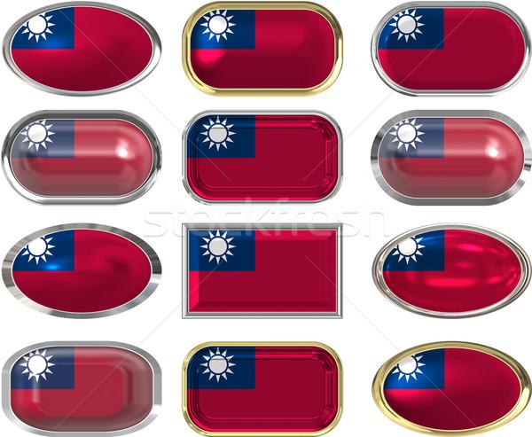 12 düğmeler bayrak Tayvan oniki muhteşem Stok fotoğraf © clearviewstock