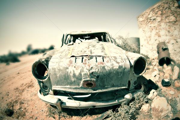 Stary samochód pustyni krzyż Zdjęcia stock © clearviewstock
