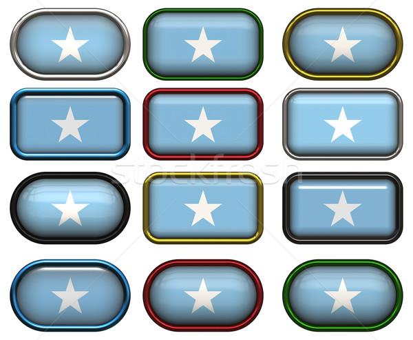 12 ボタン フラグ ソマリア 12 ストックフォト © clearviewstock