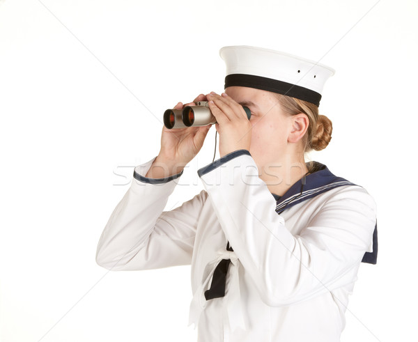 navy seaman with binoculars Stock photo © clearviewstock
