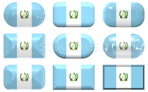 Stock photo: nine glass buttons of the Flag of Guatemala