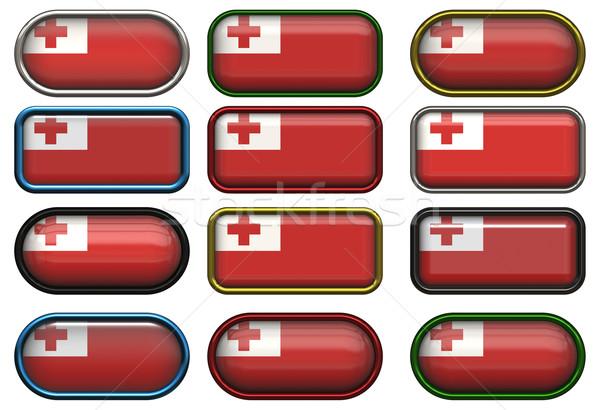 Doze botões bandeira Tonga Foto stock © clearviewstock