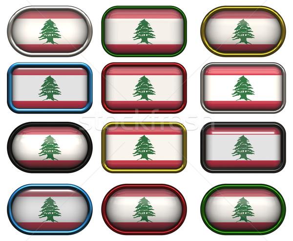 12 gombok zászló Libanon tizenkettő nagyszerű Stock fotó © clearviewstock