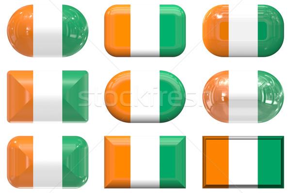 Kilenc üveg gombok zászló Elefántcsontpart Stock fotó © clearviewstock