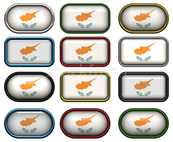 Foto stock: Doze · botões · bandeira · Chipre