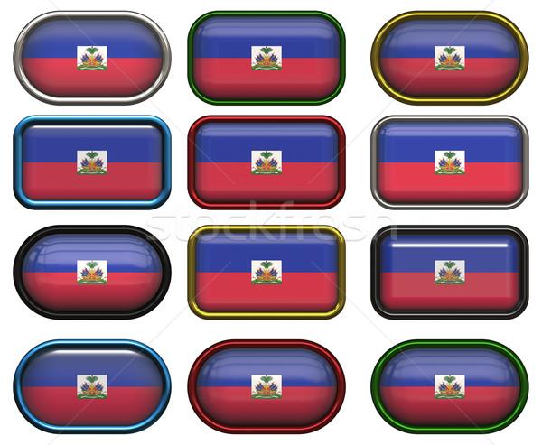 Oniki düğmeler bayrak Haiti muhteşem görüntü Stok fotoğraf © clearviewstock