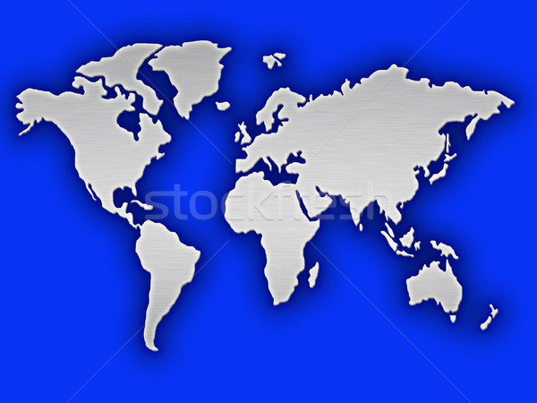 silver and blue map of the world Stock photo © clearviewstock