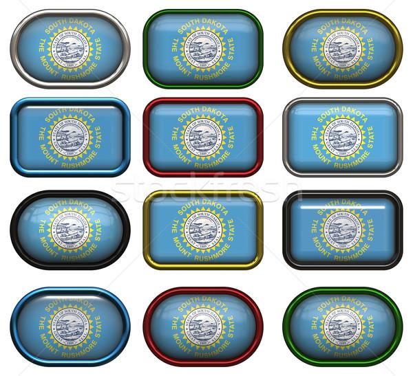 12 knoppen vlag South Dakota twaalf groot Stockfoto © clearviewstock