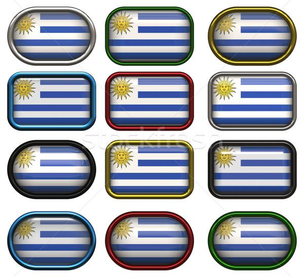 двенадцать Кнопки флаг Уругвай Сток-фото © clearviewstock