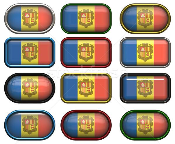 Doze botões bandeira Andorra Foto stock © clearviewstock