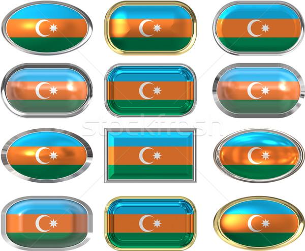 Tizenkettő gombok zászló Azerbajdzsán Stock fotó © clearviewstock