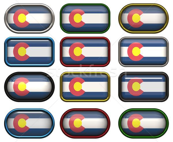 Tizenkettő gombok zászló Colorado háttér Stock fotó © clearviewstock