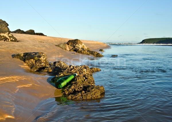 Messaggio bottiglia sos spiaggia acqua mare Foto d'archivio © clearviewstock