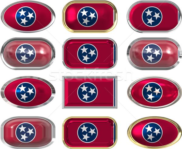 12 przyciski banderą Tennessee dwanaście Zdjęcia stock © clearviewstock