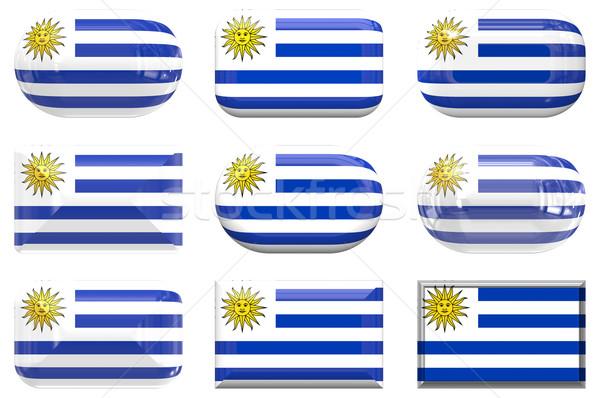 Nove vidro botões bandeira Uruguai Foto stock © clearviewstock