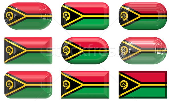 Nove vidro botões bandeira Vanuatu Foto stock © clearviewstock